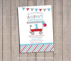 Red Wagon Birthday Invitation / Red Wagon invitation / Little Red Wagon…