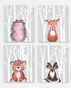 Set of 4 Woodland animal prints Grey and white nursery by EllowDee