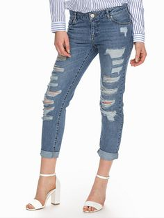 Shredded Boyfriend Jeans - Miss Selfridge - Denim Blue - Jeans - Clothing - Women - Nelly.com