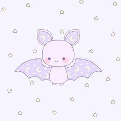 'baby bat' Sticker by stardustpalace Cute Animal Drawings Kawaii, Kawaii Drawings, Cute Drawings, Daddy's Little Girl Quotes, Daddy's Little Boy, Kawaii Chibi, Kawaii Cute, Cartoon Bat, Baby Bats