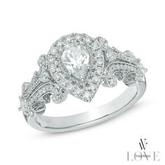 Vera Wang LOVE Collection 1 CT. T.W. Pear-Shaped Diamond Frame Engagement Ring in 14K White Gold - View All Rings - Zales