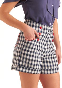 In the Picnic of Time Shorts - Mid-length, Vintage Inspired, Statement, Red, Checkered / Gingham, Buttons, Pockets, Trim, Blue, White, Rockabilly