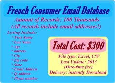 Address Numbers, Email List, Online Marketing, Coding, Austria, Belgium, Ireland, Spain, French