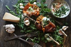Baked sweet potato & herby butter