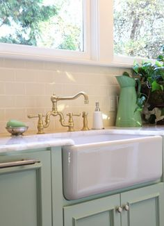 cupboard color, counters, sink, BRUSHED GOLD FAUCET gahhh so gorgeous