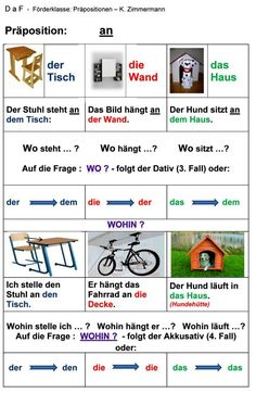 Präposition : an Study German, Learn German, Learn English, Foreign Language Teaching, German Language Learning, German Grammar, German Words, Dativ Deutsch, Teaching