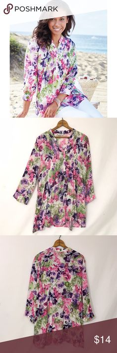 DaMart UK floral pintuck Tunic top Excellent condition!  Three quarter sleeves Light sheerness and may require appropriate undergarments Light and airy with three-quarter sleeves and perfect Tunisian collar. Regular fit. Machine washable. 100% Viscose. US 14 🔹bust 46 length 30 damart  Tops Tunics
