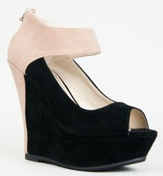 awesome Bamboo SMOOCH-37 Colorblock Platform Wedge Heel Pump