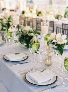 Green & White wedding centerpieces