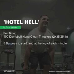 """""""Hotel Hell"""" WOD - For Time: 100 Dumbbell Hang Clean Thrusters lb); 5 Burpees to start, and at the top of each minute Crossfit Workouts At Home, Wod Workout, Street Workout, Fit Board Workouts, Workout Board, Training Workouts, Workout Routines, Workout Ideas, Kettlebell"""