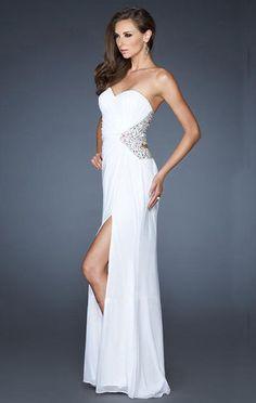 2015 Strapless La Femme 18771 Long White Prom Dress