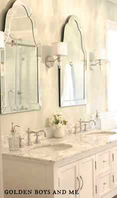 Master Bathroom with pedestal tub, white subway tile, carrera (with sources). ~ pretty bathroom
