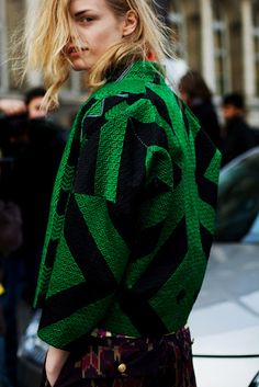 Dries van Noten, street style, green coat, office style, statement coat
