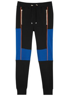 Balmain black and blue cotton jogging trousers Elasticated drawstring waist ribbed panels zipped pockets orange piped trims ribbed cuffs Pull on cotton; Toddler Cc Sims 4, Fashion Pants, Mens Fashion, Mens Jogger Pants, Black Joggers, Workout Attire, Pepe Jeans, Pyjamas, Drawstring Waist