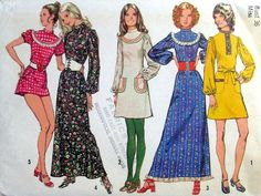 Seventies dresses.  Probably a McCalls or Simplicity pattern to make the dress in various styles.