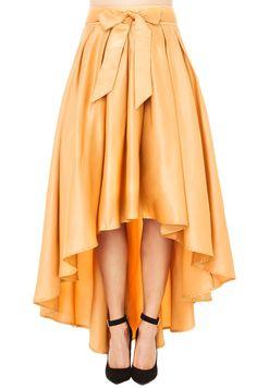 Gracia Women's Hi Low Shine Skirt in Gold - 11 Main