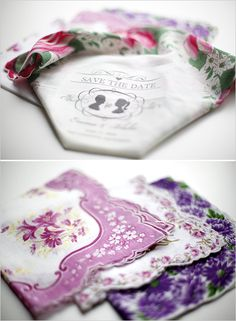 make your own vintage save the date hankie. Including the template.