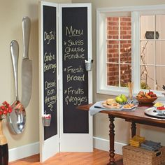 Create a party menu board using inexpensive bi-fold closet doors and a chalkboard paint finish.
