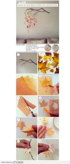 DIY Autumn Paper Leaves Wall Art by Frances&Francis