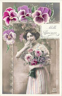 Vintage Postcard Real Photo Women with Rose's and Pansies (Image1)