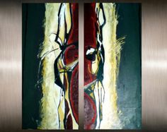 ***This painting is larger than appears in the photo  DETAILS  Title: Abstract Gold Artist: Alexandra Dumitrescu Size: 28x40 (70x100 cm) Year: 2015 Style: Modern, Abstract Canvas: High quality stretched canvas - ready to hang Painting larger than 36x48 will be shipped rolled in protective tube. Medium: Professional Acrylic Colors, Oil, spray Signed and dated by Alexandra Dumitrescu ***10 days money refund accepted  CUSTOM REQUESTS (different size, colors etc.) https://www.etsy.com&#...