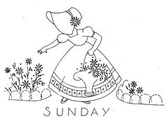Hand Embroidery Pattern 7363 Sunbonnet Girls for Days of the Week Towels Instant…