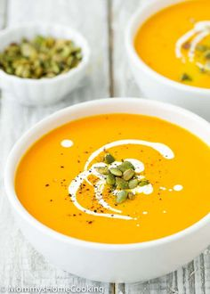 This Easy Instant Pot Pumpkin Soup is smooth, silky, tasty and super satisfying! Easy to make and ready in less than 25 minutes. #recipe #soup #instantpot #pressure cooker #pumpkin #easy Vegan Pumpkin Soup, Roast Pumpkin Soup, Raw Pumpkin Seeds, Roasted Pumpkin Seeds, Easy Soup Recipes, Beef Recipes, Cooking Recipes, Healthy Recipes, Delicious Recipes