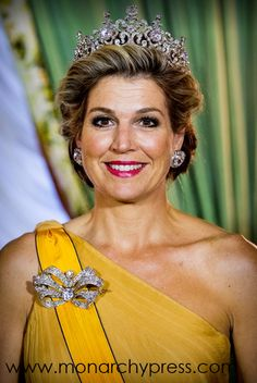 Queen Maxima of The Netherlands during the official picture at the state banquet in the Grand Ducal Palace on May 2018 in Luxembourg, Luxembourg. The Dutch King and Queen are in Luxembourg for an three day state visit Royal Tiaras, Tiaras And Crowns, Royal Crowns, Queen Of Netherlands, Dutch Queen, Diamond Tiara, Royal Jewelry, Jewellery, Queen Maxima