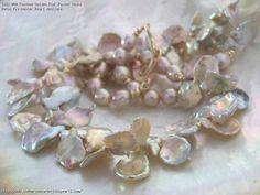 Rainbow Golden Pink Pastel Keshi Petal Freshwater Pearl Necklace