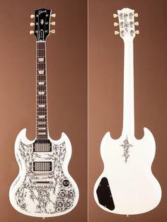 hand painted white guitar.
