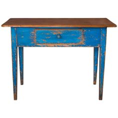 19th Century Painted Blue Pine Desk | From a unique collection of antique and modern desks and writing tables at https://www.1stdibs.com/furniture/tables/desks-writing-tables/