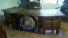 Executive Desk - All reclaimed, antique materials - Heart-pine, wrought-iron from old handrails, and reclaimed slate roof tiles on the top