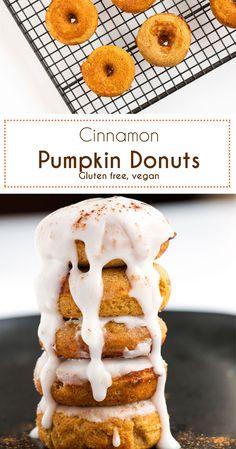 Soft and fluffy Cinnamon Pumpkin Donuts. Gluten Free and Vegan.