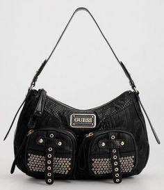 96e305354e Nwt guess handbag expression small hobo black studs purse bag vy286701