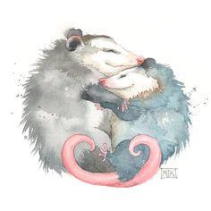 Cute Possums Art Print Opossum Art Gift for Her Gift for Watercolor Animals, Watercolor Art, Baby Animals, Cute Animals, Odd Animals, Baby Possum, Opossum, Baby Prints, Thing 1