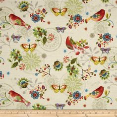 Bohemian Chic Floral & Birds Cream from @fabricdotcom  Designed by Sue Zipkin for Clothworks, this fabric is perfect for quilting, apparel and home decor accents. Colors include black, red, yellow, orange, cream, shades of brown, shades of purple, shades of grey, and shades of blue.