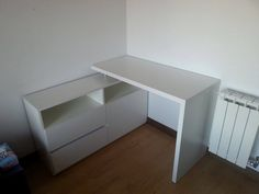 escritorio esquinero moderno melamina blanca con cajonera