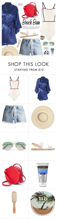 """""""Beach Bum!"""" by makeupgoddess ❤ liked on Polyvore featuring Solid & Striped, Off-White, Gucci, Ancient Greek Sandals, KAROLINA, Neutrogena, Philip Kingsley, Urban Decay and Vera Bradley"""