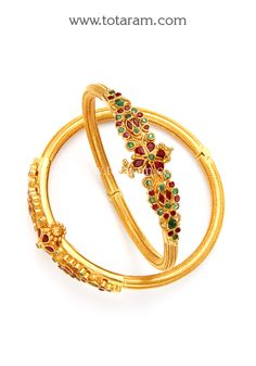 22K Fine Gold Kada with Ruby & Emerald - Set of 2 (1 Pair)