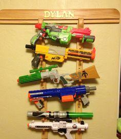Kids room: Great storage for those nerf guns! Ty Papaw!