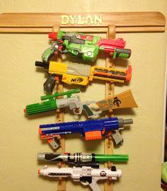 Kids room: Great storage for those nerf guns! Ty Papaw!