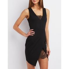 Charlotte Russe Lace-Trim Asymmetrical Bodycon Dress ($29) ❤ liked on Polyvore featuring dresses, black, black dress, sexy bodycon dresses, sexy black dress, black body con dress and midi cocktail dress