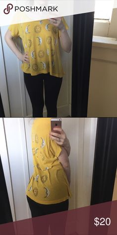 Yellow Celestial Moon & Sun Tee Perfect gently used condition super soft & comfy! Wildfox Tops Tees - Short Sleeve