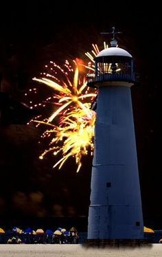 Biloxi, MS Lighthouse - Fireworks ♠ re- pinned by http://www.waterfront-properties.com/