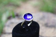 enamel sterling silver ring // blue // special design
