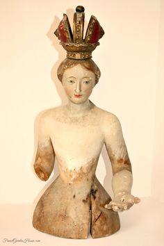 Rare 18th Century Italian Polychrome Processional Santos Madonna