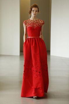 Oscar de la Renta resort 2016 red evening dress