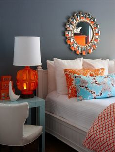 Orange and turquoise. Always a favourite! I love how the mirror reflects the bright colors. Orange and turquoise. Always a favourite! I love how the mirror reflects the bright colors. Sugar and […] room decor orange Orange Et Turquoise, Blue Orange, Turquoise Room, Orange Color, Italian Bedroom Furniture, Bedroom Orange, Master Bedroom Design, Bedroom Designs, Contemporary Bedroom