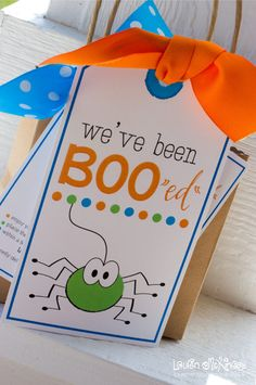 """I adore this little poem that I came up with for the front of the card.   """"Along came a spider just to say Happy Halloween in the cutest of ways! There's no reason to shriek, run or hide, this little spider left treats for inside! We've had so much fun BOO""""ing"""" you, we hope you decide to BOO others too!"""""""