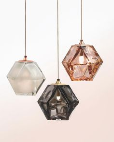 """""""Our new WELLES Double-Blown Glass Pendants, in alabaster-white, smoked-gray and California-rose. …"""""""